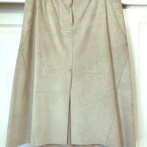 DKNY tan suede midi skirt Size 12